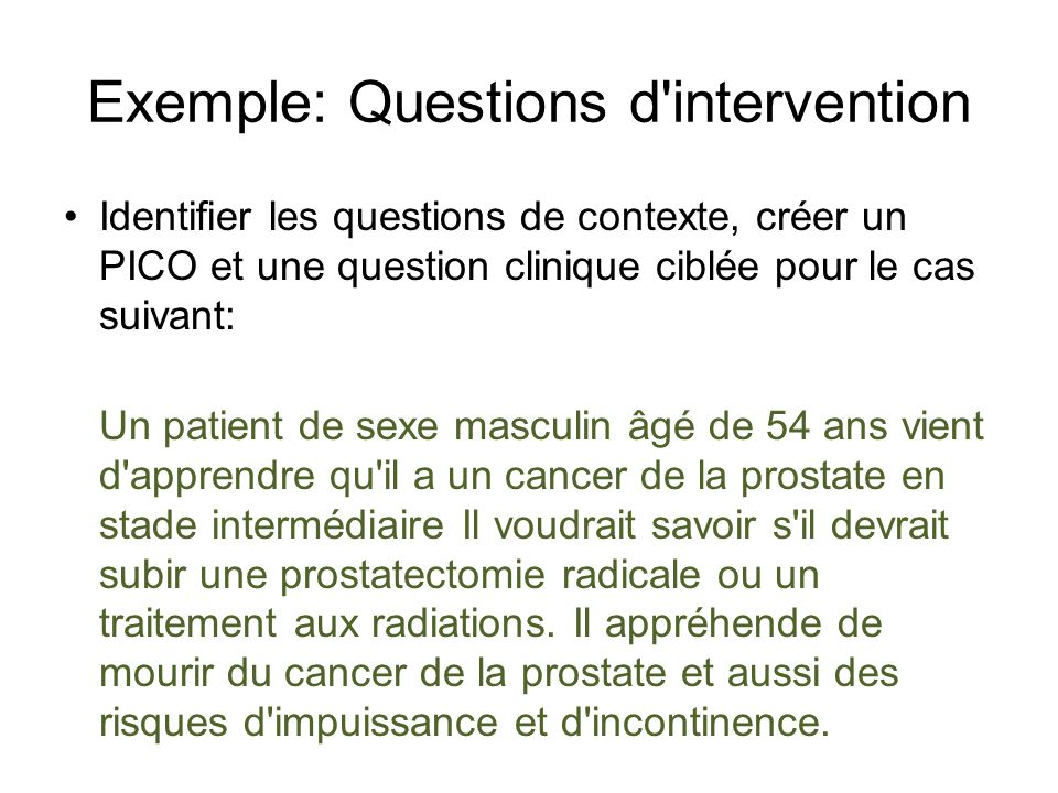 Exemple: Questions d intervention