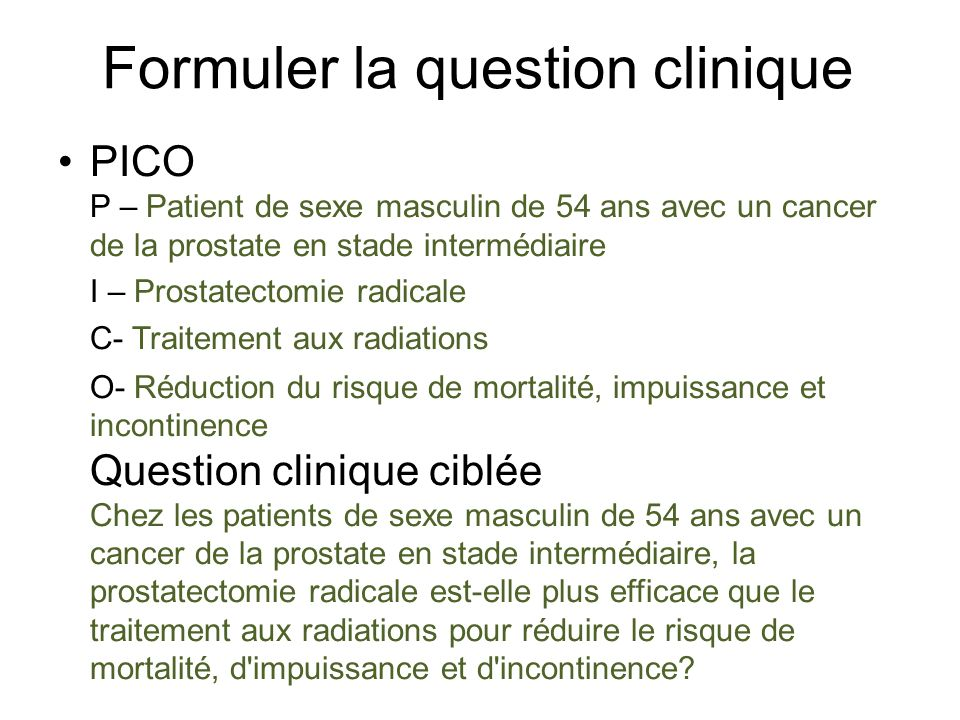Formuler la question clinique