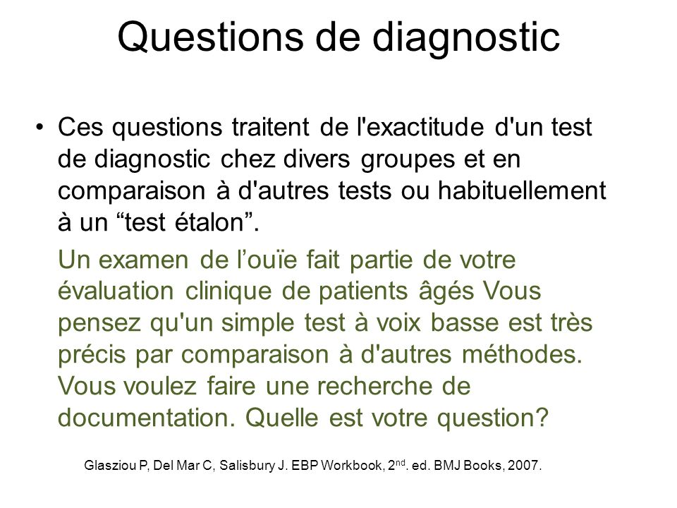 Questions de diagnostic