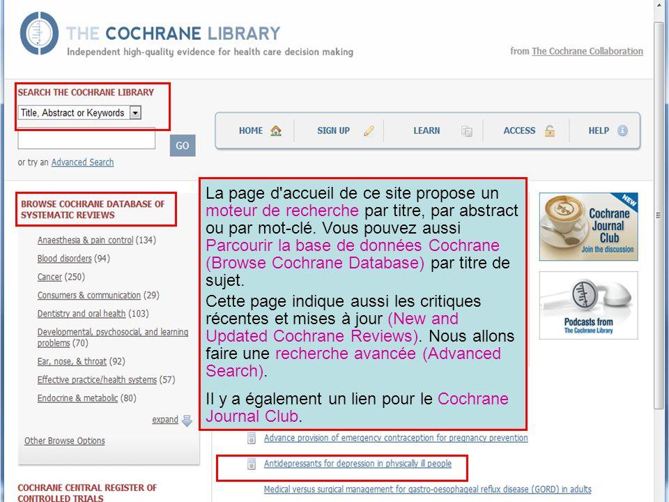 Il y a également un lien pour le Cochrane Journal Club.
