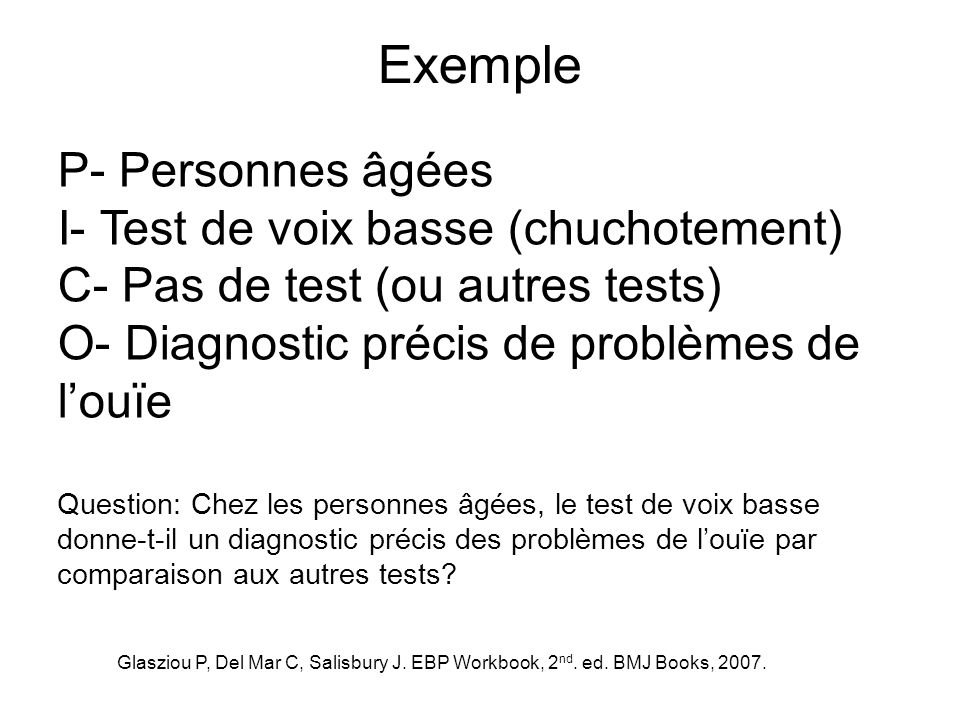 Exemple P- Personnes âgées I- Test de voix basse (chuchotement)