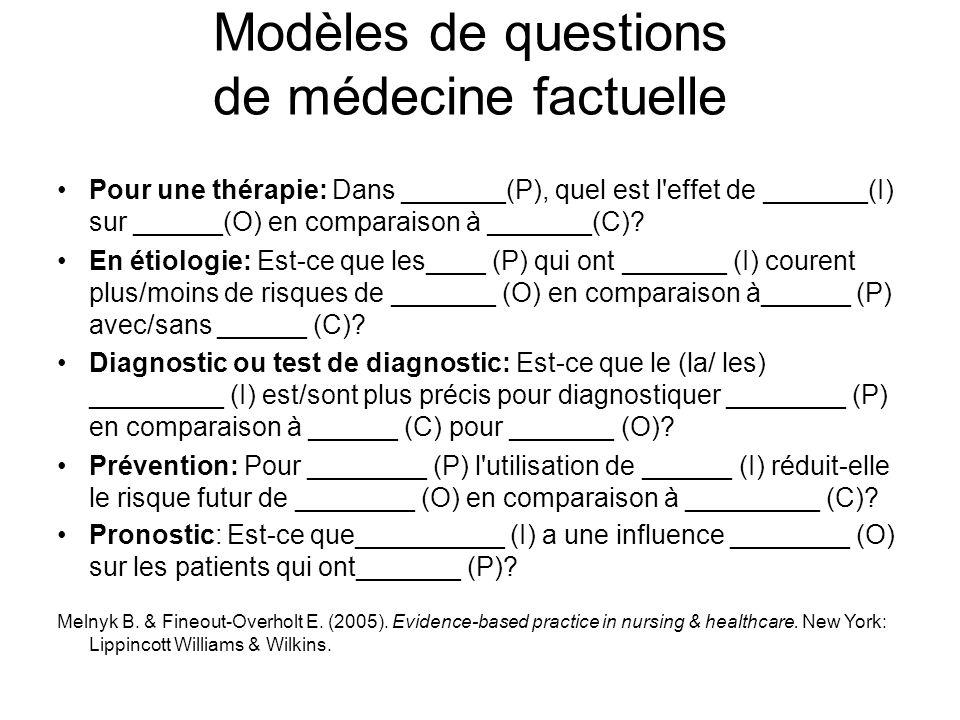 Modèles de questions de médecine factuelle