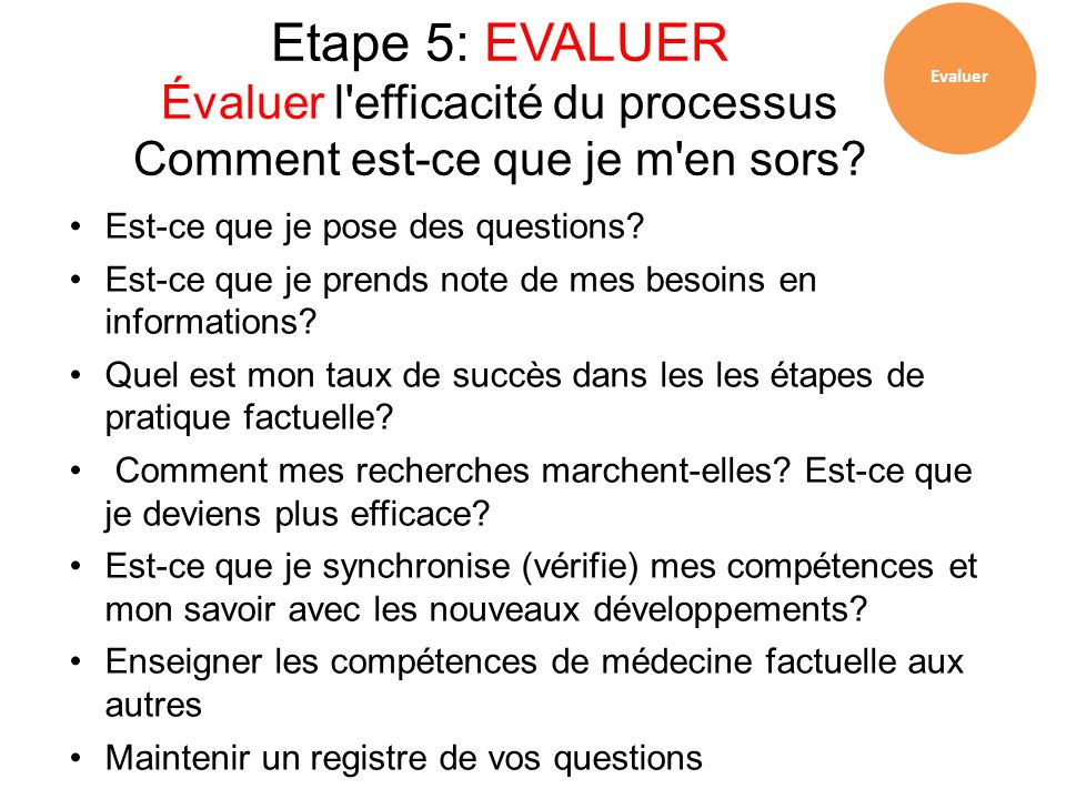 Evaluer Etape 5: EVALUER Évaluer l efficacité du processus Comment est-ce que je m en sors Est-ce que je pose des questions