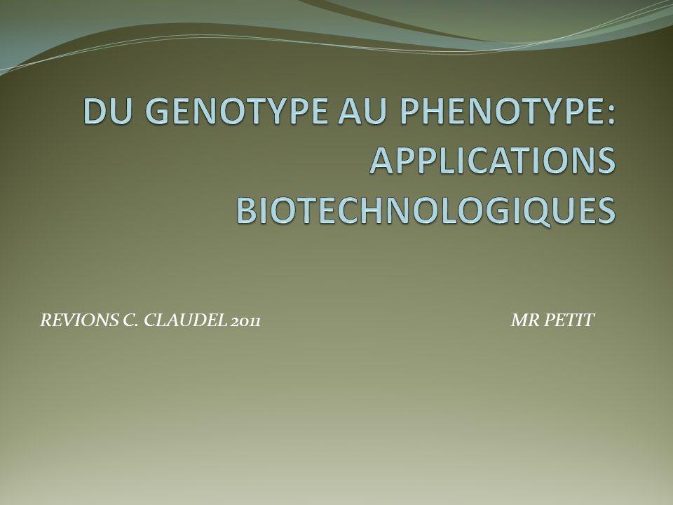 DU GENOTYPE AU PHENOTYPE: APPLICATIONS BIOTECHNOLOGIQUES