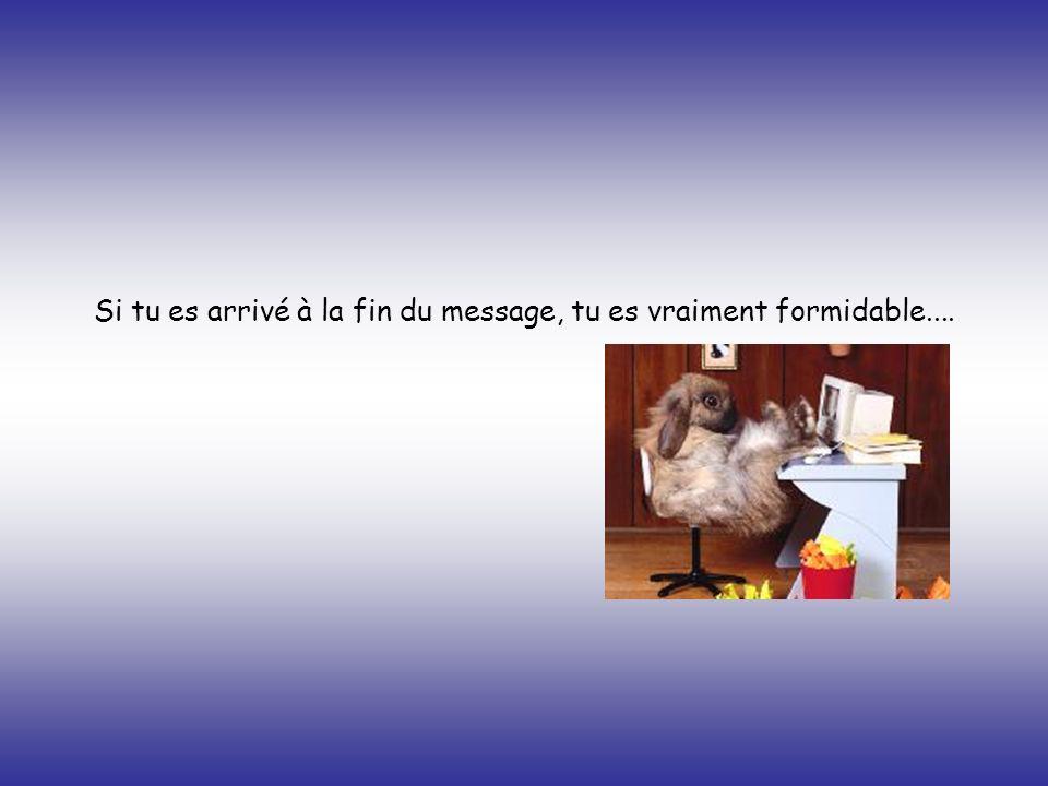 Si tu es arrivé à la fin du message, tu es vraiment formidable....