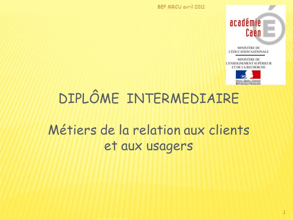 BEP MRCU avril 2011 DIPLÔME INTERMEDIAIRE Métiers de la relation aux clients et aux usagers