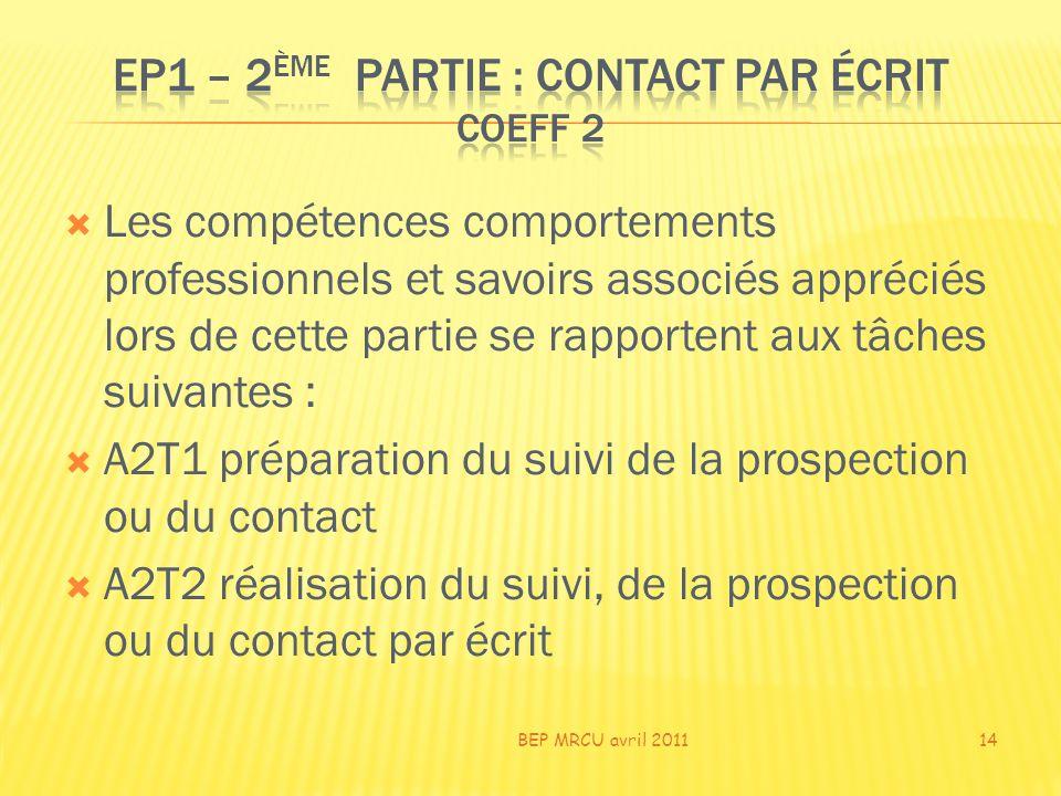 EP1 – 2ème PARTIE : CONTACT par écrit COEFF 2