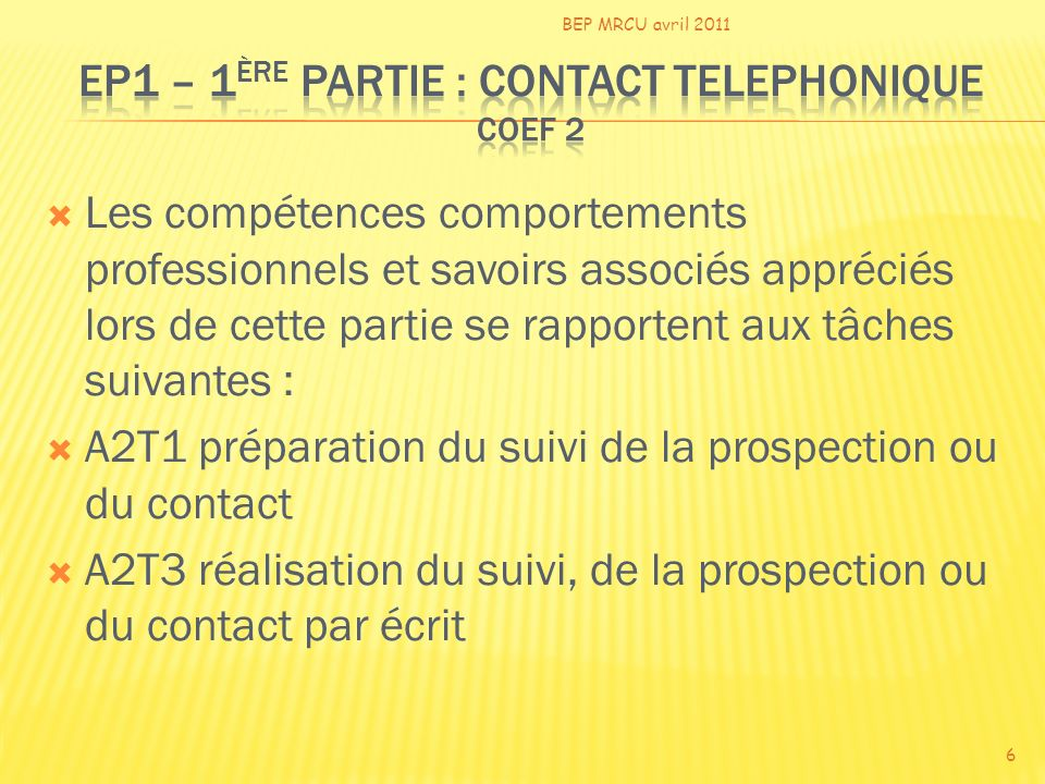 EP1 – 1ère PARTIE : CONTACT TELEPHONIQUE coef 2