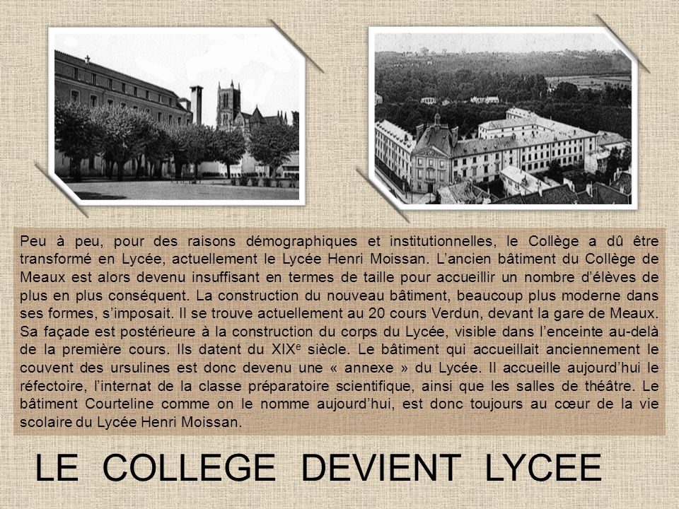 LE COLLEGE DEVIENT LYCEE