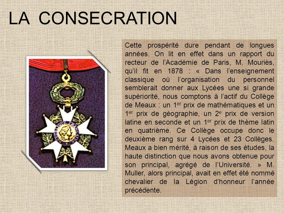 LA CONSECRATION