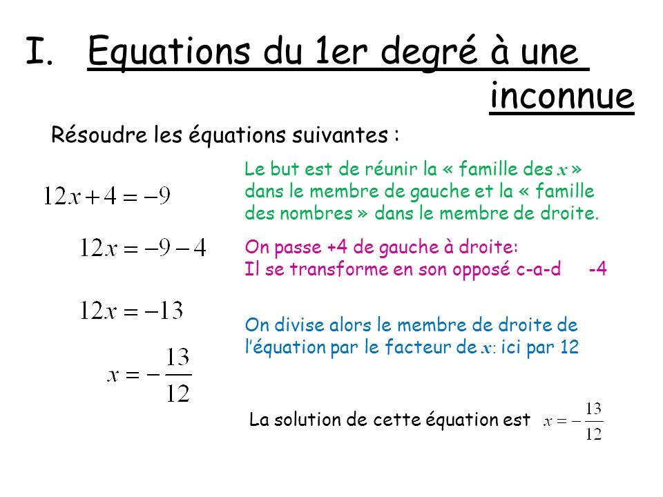 Equations du 1er degré à une inconnue