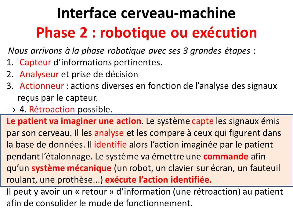 Interface cerveau-machine Phase 2 : robotique ou exécution