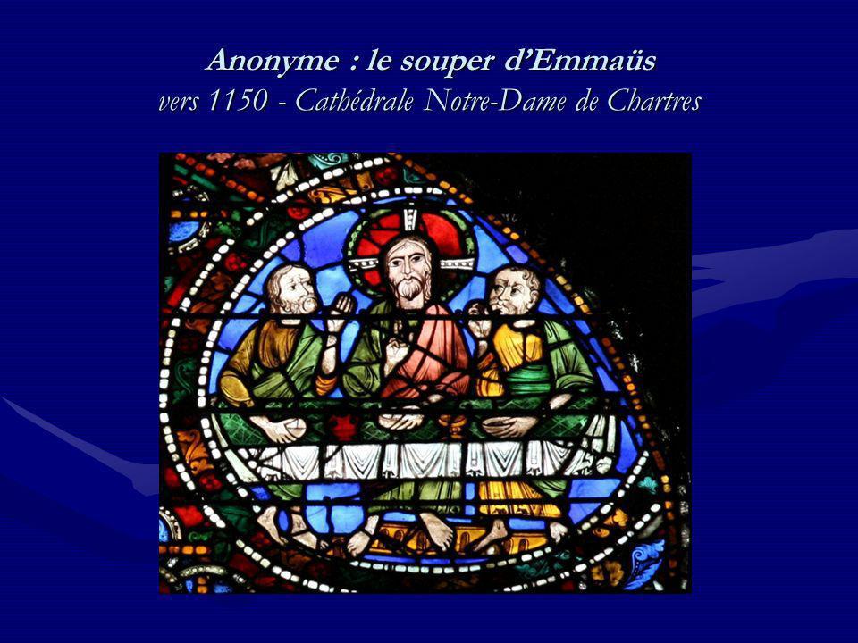 Anonyme : le souper d'Emmaüs vers 1150 - Cathédrale Notre-Dame de Chartres