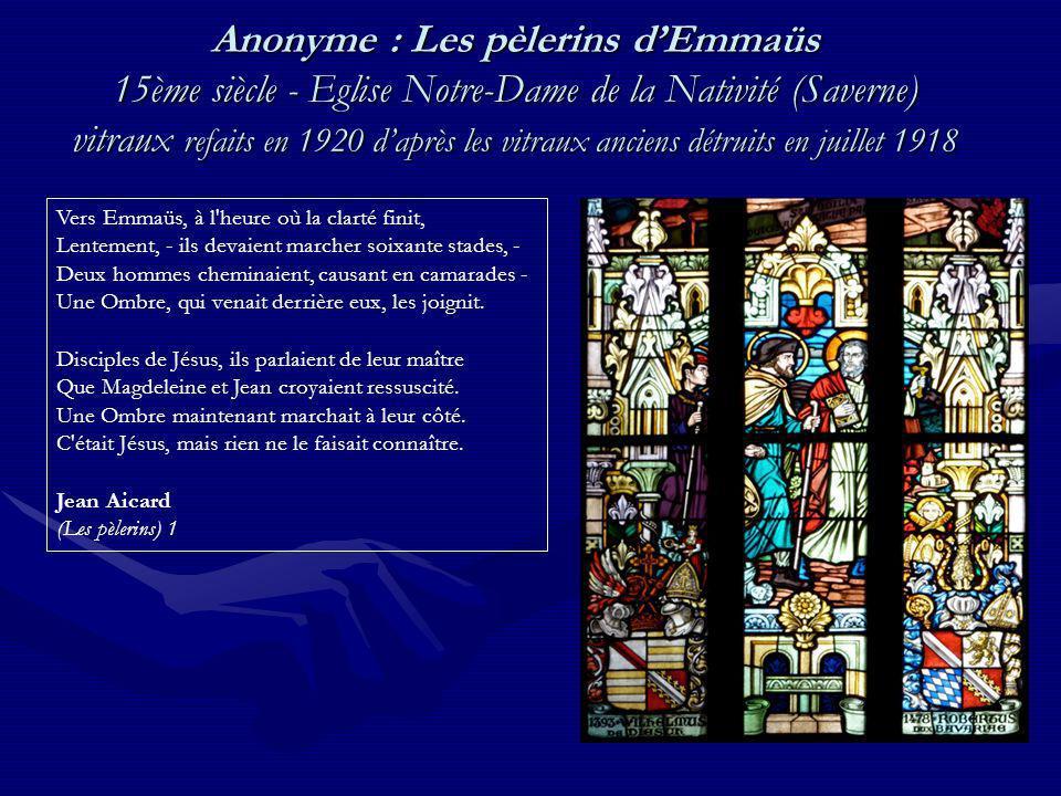 Anonyme : Les pèlerins d'Emmaüs 15ème siècle - Eglise Notre-Dame de la Nativité (Saverne) vitraux refaits en 1920 d'après les vitraux anciens détruits en juillet 1918