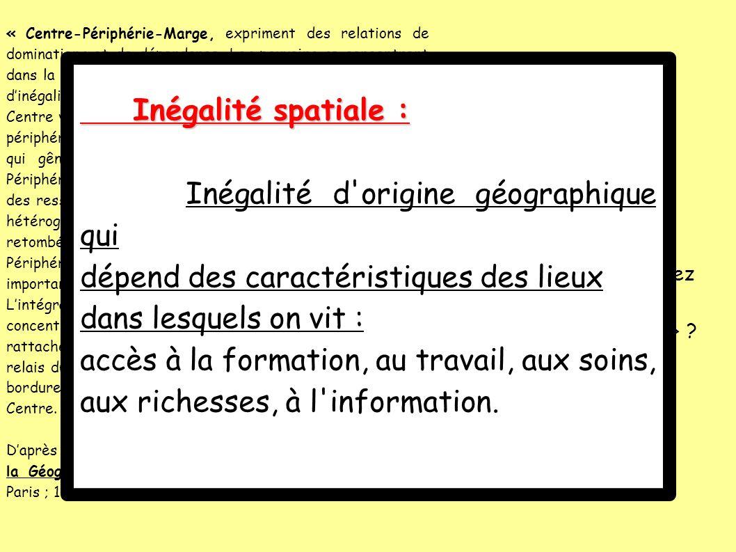 Inégalité d origine géographique qui
