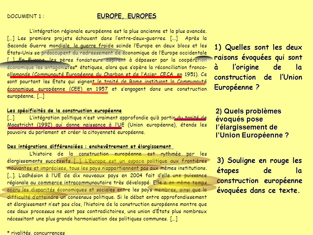 DOCUMENT 1 : EUROPE, EUROPES
