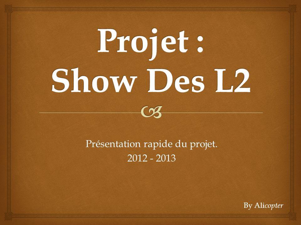 Présentation rapide du projet. 2012 - 2013