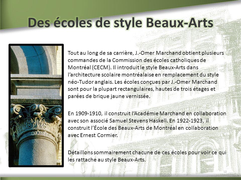 Des écoles de style Beaux-Arts