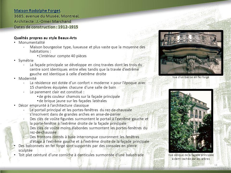Maison Rodolphe Forget, 3685, avenue du Musée, Montréal, Architecte : J.-Omer Marchand Dates de construction : 1912-1915