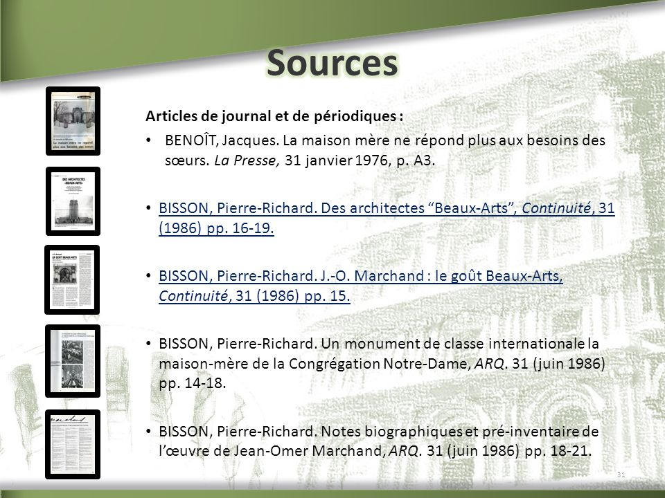 Sources Articles de journal et de périodiques :