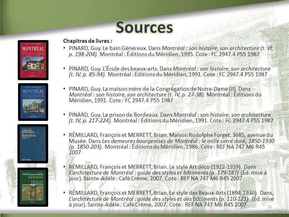 Sources Chapitres de livres :