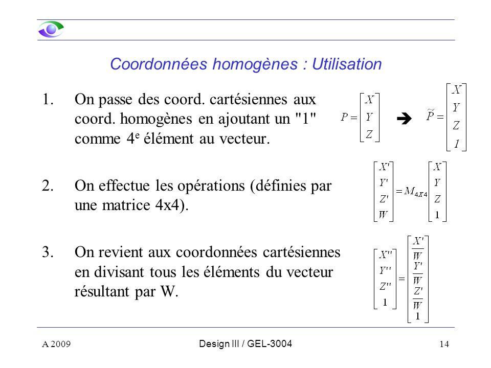 Coordonnées homogènes : Utilisation