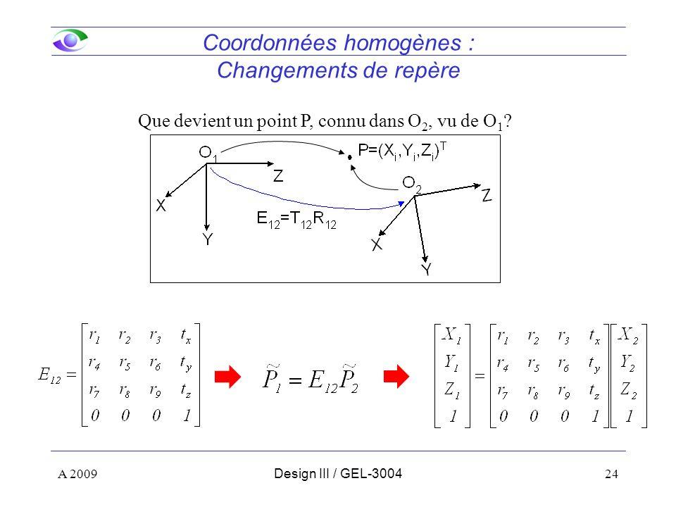 Coordonnées homogènes : Changements de repère