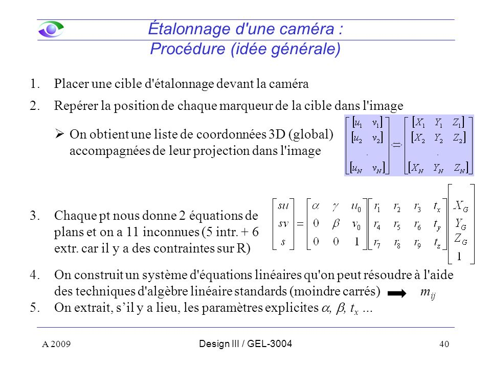 Étalonnage d une caméra : Procédure (idée générale)