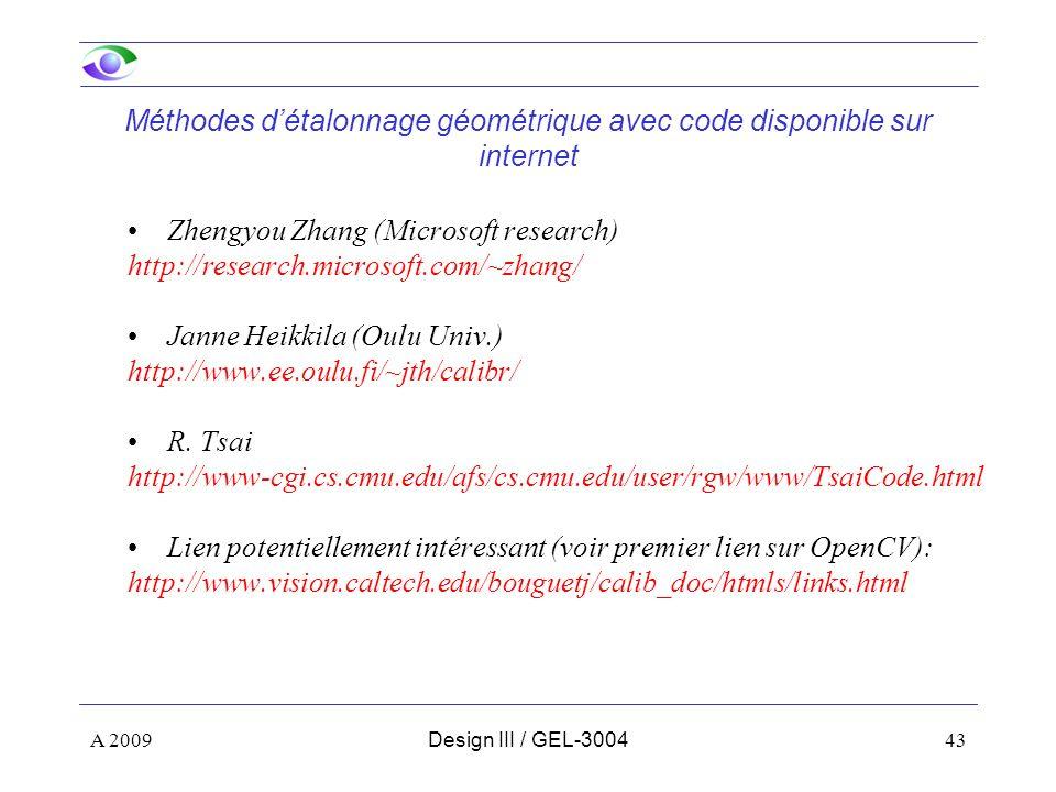 Méthodes d'étalonnage géométrique avec code disponible sur internet