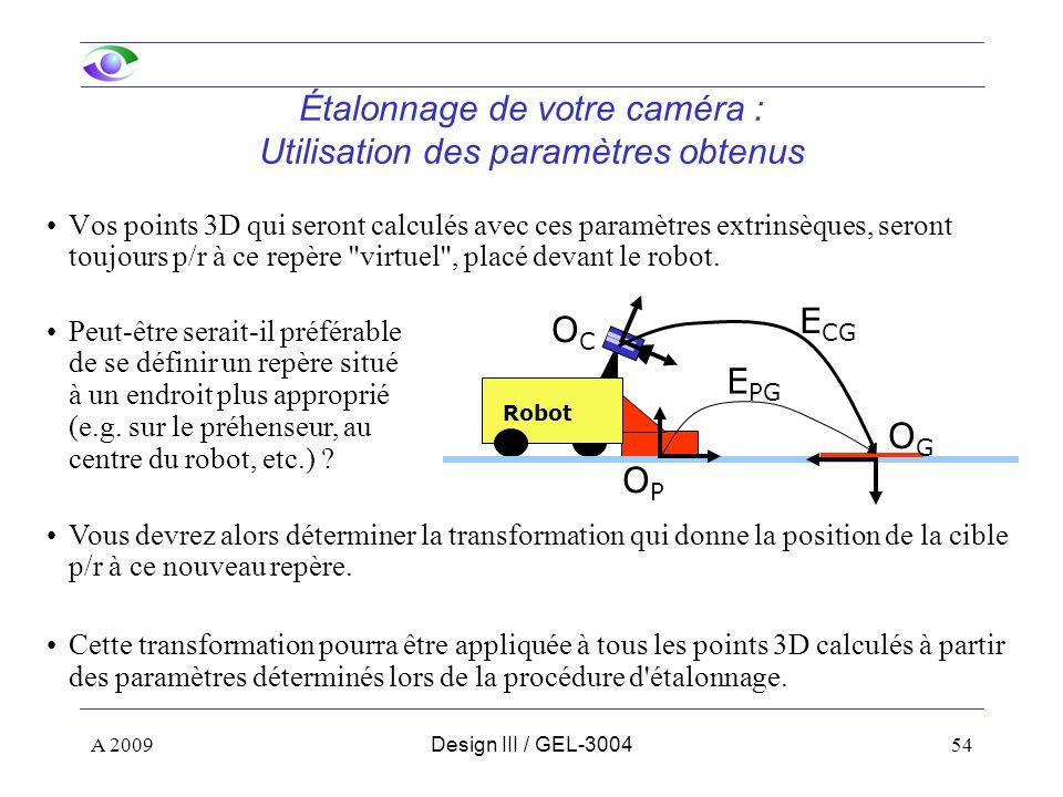 Étalonnage de votre caméra : Utilisation des paramètres obtenus