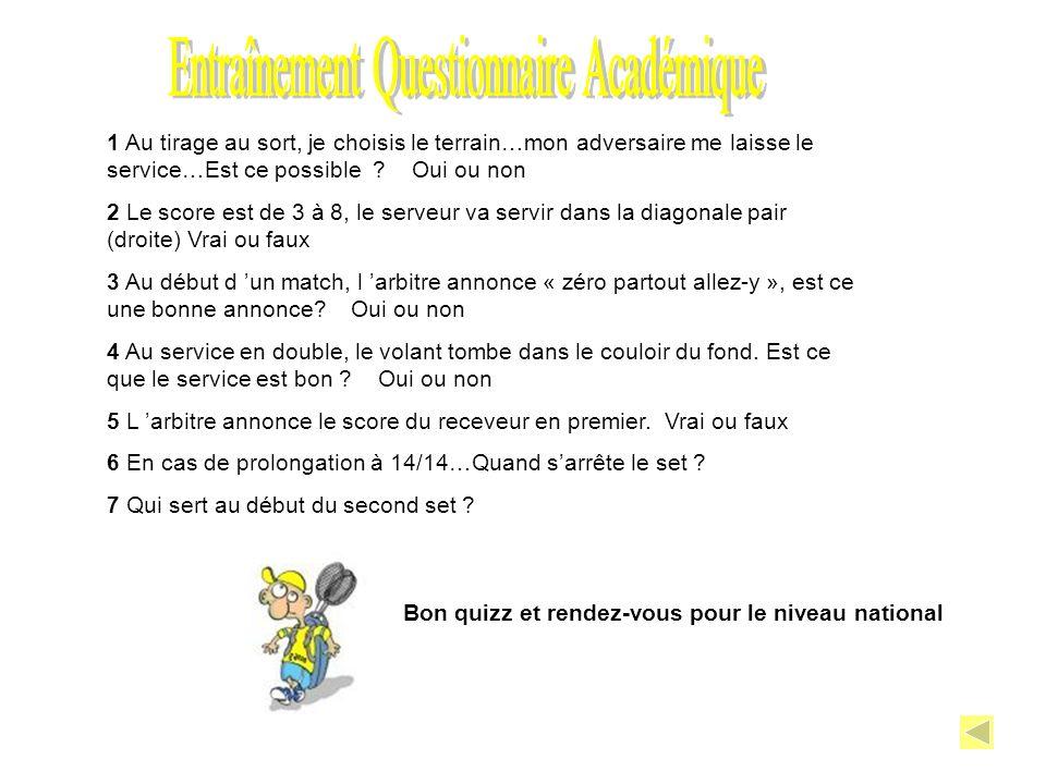 Entraînement Questionnaire Académique