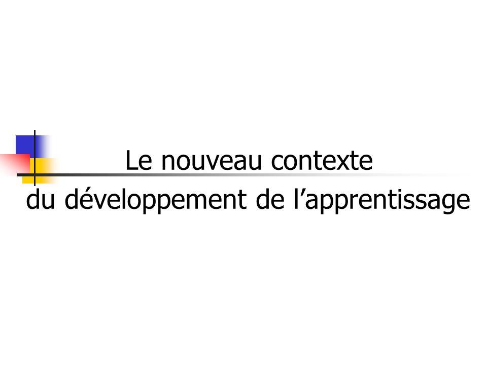 Le nouveau contexte du développement de l'apprentissage