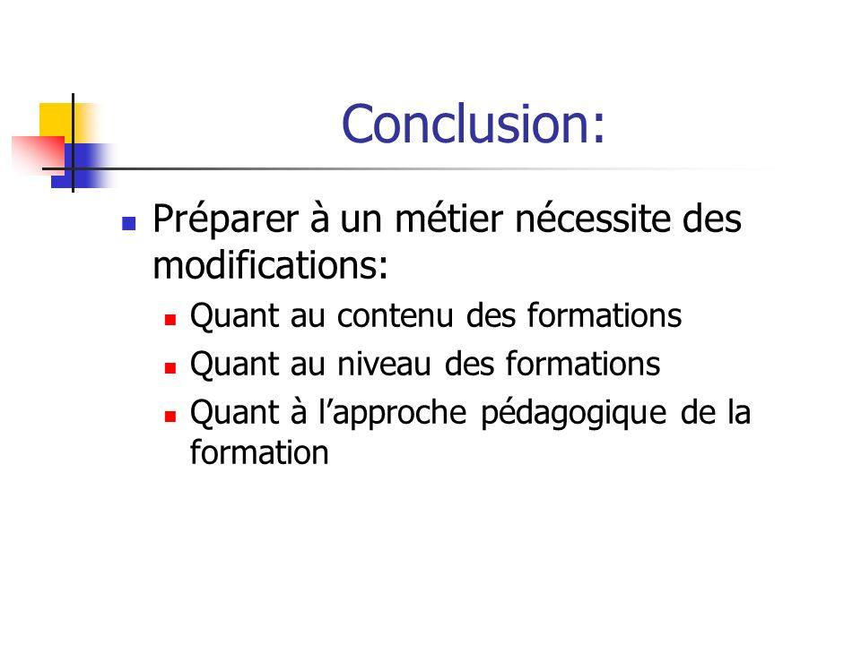 Conclusion: Préparer à un métier nécessite des modifications: