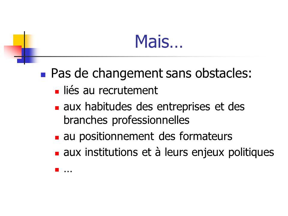 Mais… Pas de changement sans obstacles: liés au recrutement