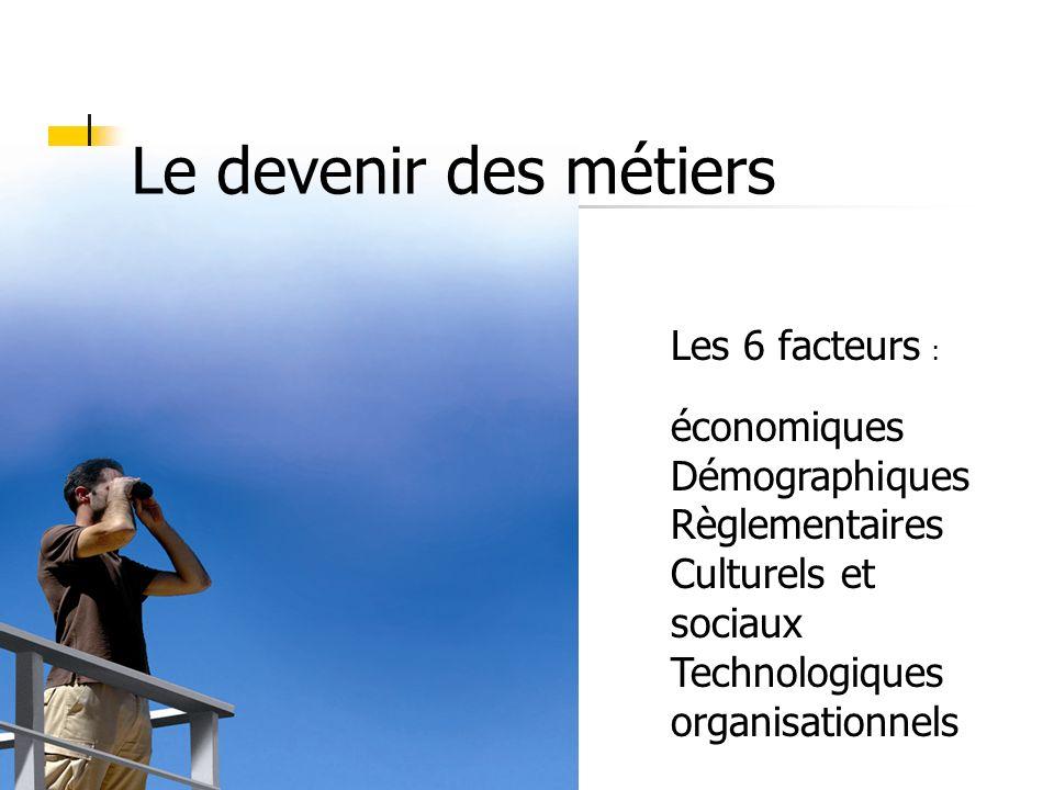 Le devenir des métiers Les 6 facteurs : économiques Démographiques