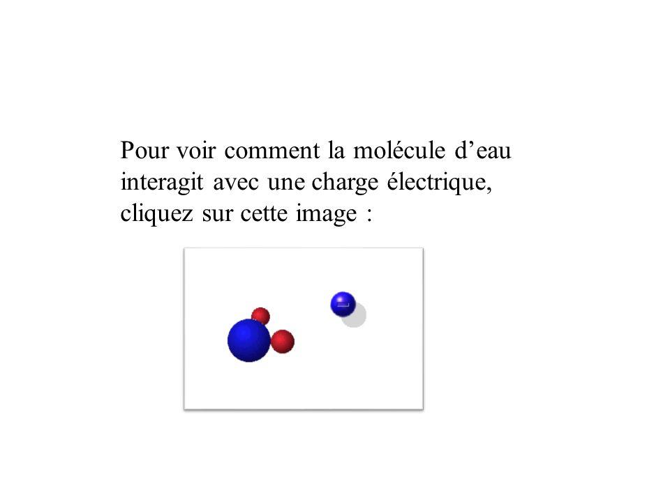 Pour voir comment la molécule d'eau interagit avec une charge électrique, cliquez sur cette image :