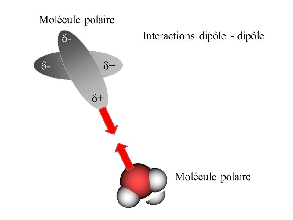 Molécule polaire Interactions dipôle - dipôle d- d- d+ d+ Molécule polaire