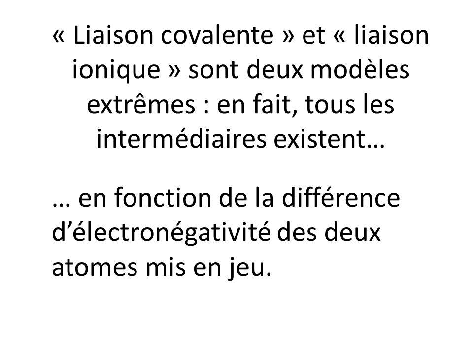 « Liaison covalente » et « liaison ionique » sont deux modèles extrêmes : en fait, tous les intermédiaires existent…