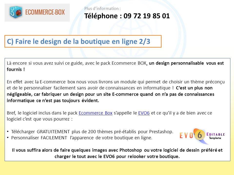 C) Faire le design de la boutique en ligne 2/3