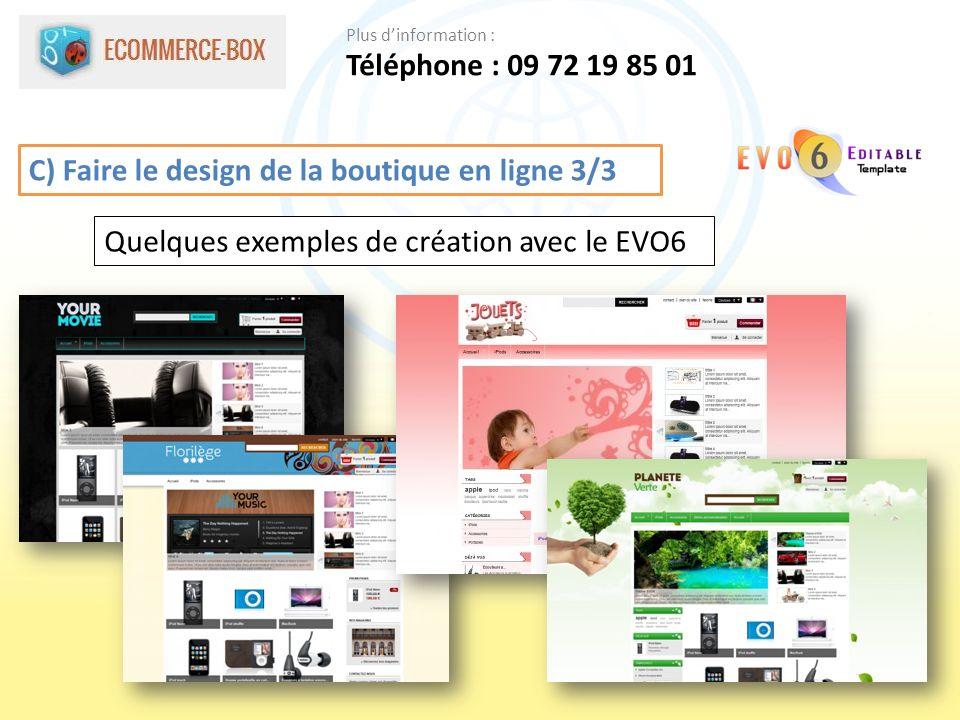 C) Faire le design de la boutique en ligne 3/3