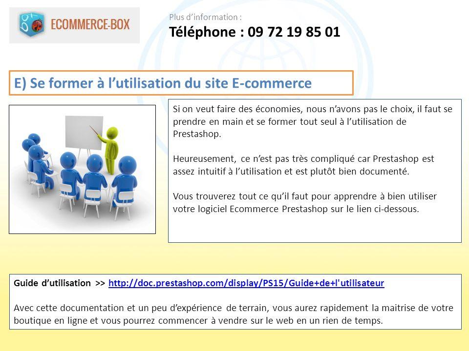 E) Se former à l'utilisation du site E-commerce