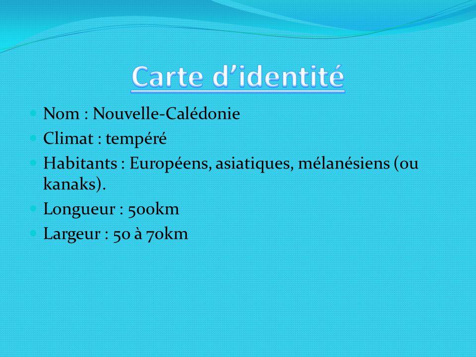 Carte d'identité Nom : Nouvelle-Calédonie Climat : tempéré