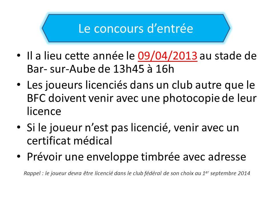 Le concours d'entrée Il a lieu cette année le 09/04/2013 au stade de Bar- sur-Aube de 13h45 à 16h.