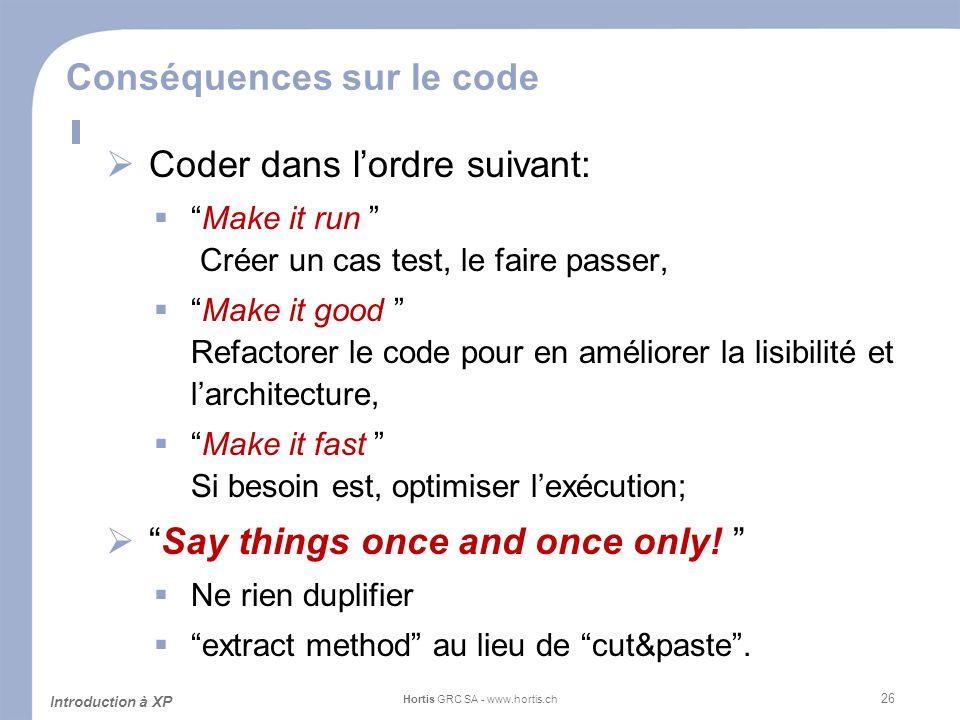 Conséquences sur le code