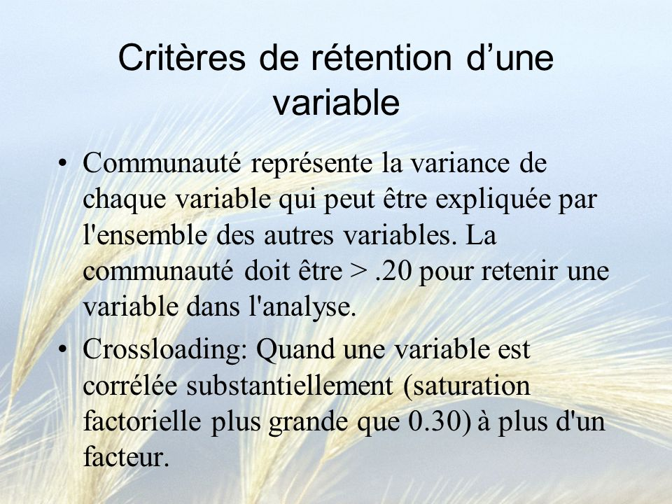 Critères de rétention d'une variable