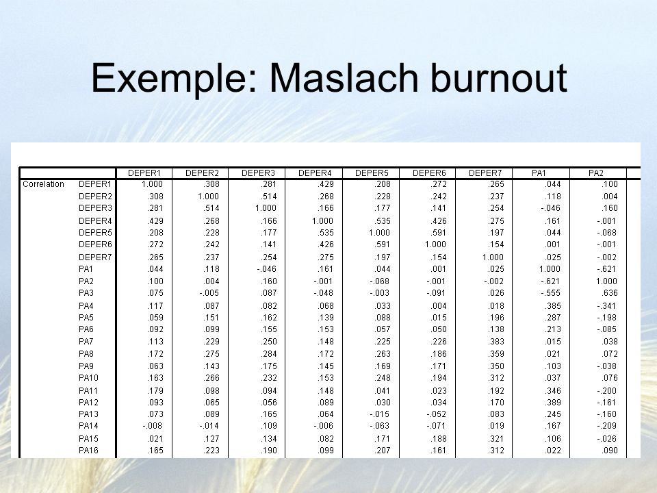 Exemple: Maslach burnout
