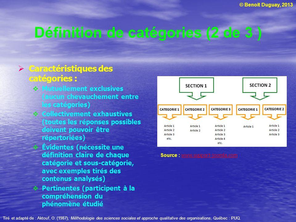 Définition de catégories (2 de 3 )