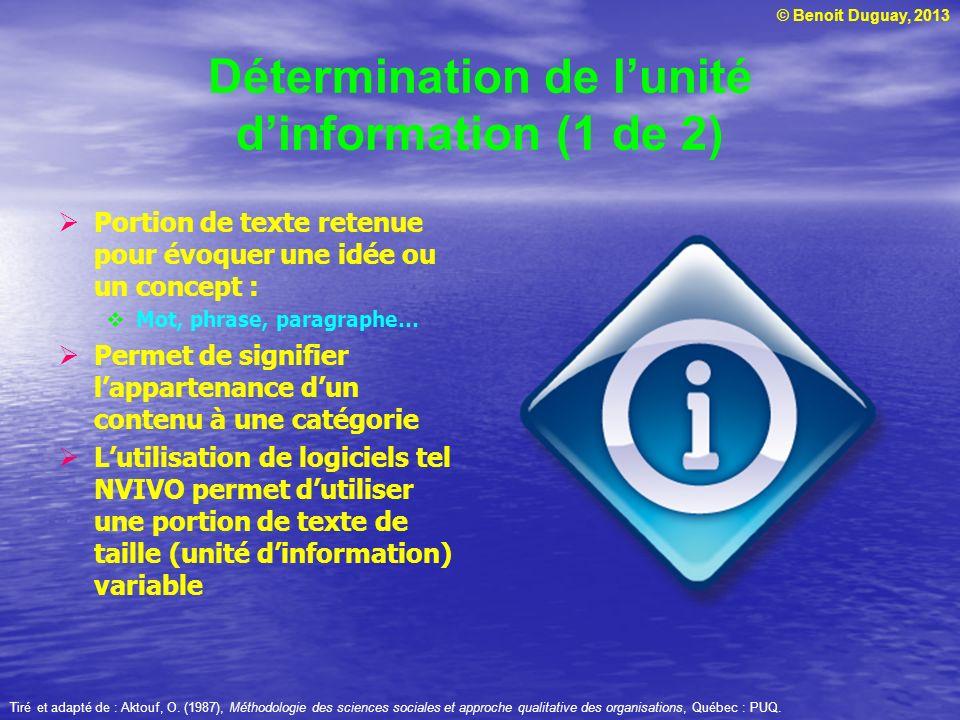 Détermination de l'unité d'information (1 de 2)