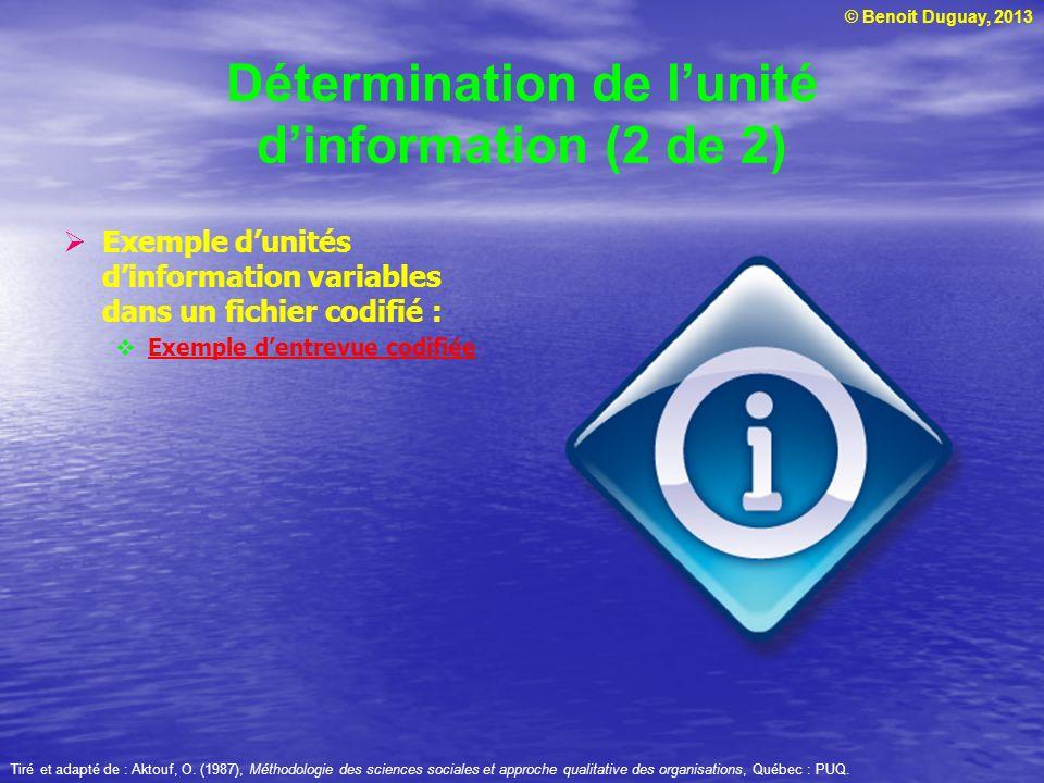 Détermination de l'unité d'information (2 de 2)