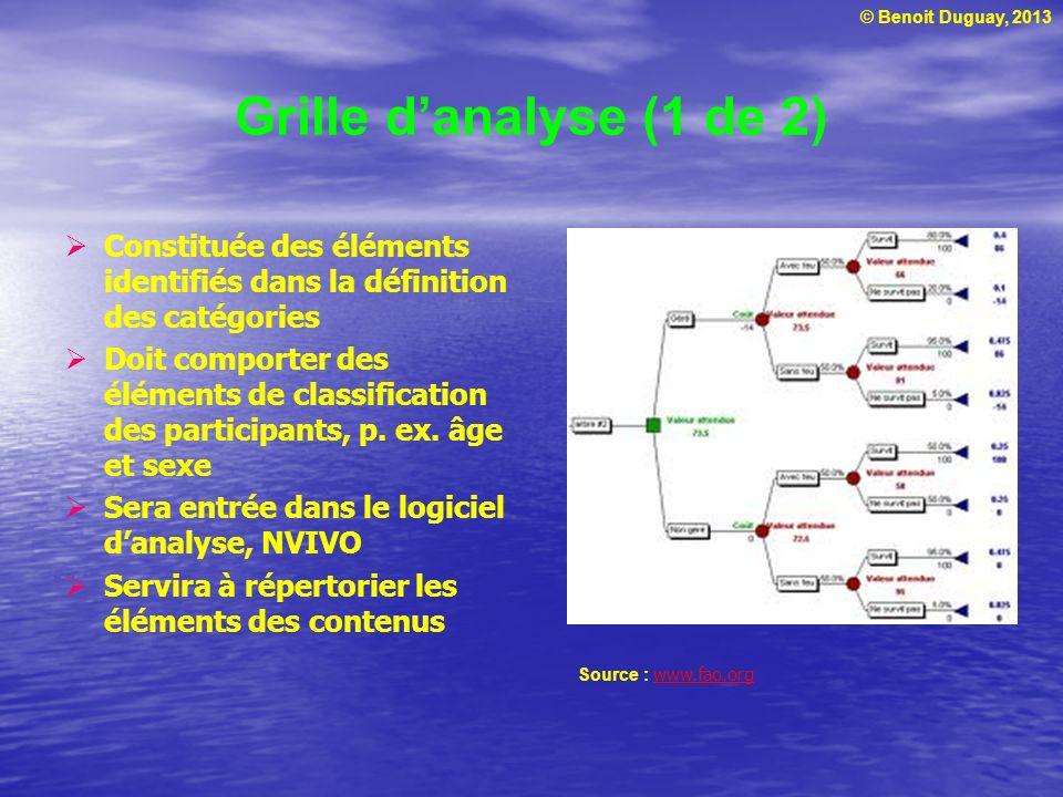 Grille d'analyse (1 de 2) Constituée des éléments identifiés dans la définition des catégories.